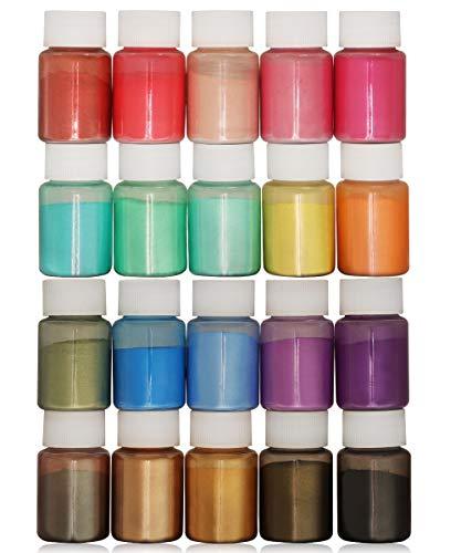 DEWEL 20er×10ml Epoxidharz Farbe, Metallic Farbe Resin Pulverfarbe Seifenfarbe Pigmentpulver Mica Pulver Powder zur Farbherstellung