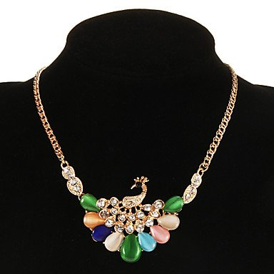 JYZHP Collar colgante de resina vintage con forma de pavo real (1 unidad),