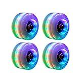 Urstory1 4 ruedas luminosas para patín, ruedas de patinaje cuádruple, versátiles ruedas de patinaje con rodamientos luces LED en el interior de 58 x 32 mm, 82 A