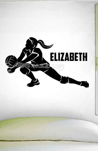 personalisierte mädchen volleyball Wandaufkleber benutzerdefinierte name volleyball rutsche wandtattoo Volleyball Spieler Weibliche Wohnzimmer schlafzimmer 95X56CM