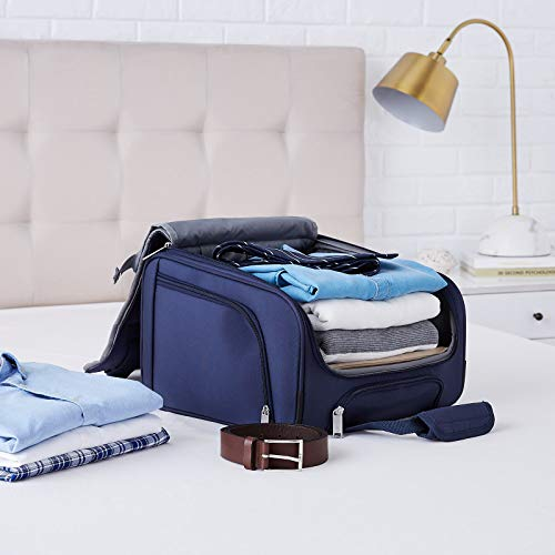 Amazon Basics Underseat Carry-On Rolling Travel Luggage Bag, 14 Inches, Navy Blue