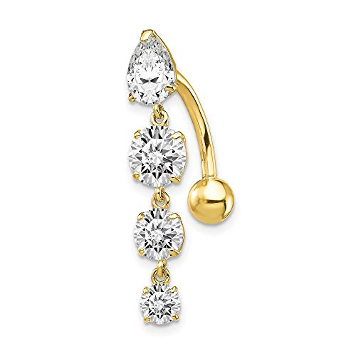 10k Yellow Gold Tops Down 4 Dangle Czs Belly Button Rings Screw Navel Bars Body Piercing Naval Fine Jewelry For Women Gifts For Her