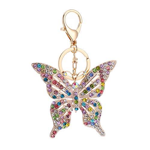 Lurrose 1 llavero de mariposa con forma de mariposa, colgante de aleación, colorido, 13.5X9CM,