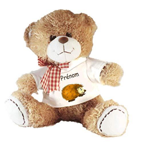 Peluche Nounours avec un Tee shirt Hérisson Personnalisable avec un Prénom Exemple Harry