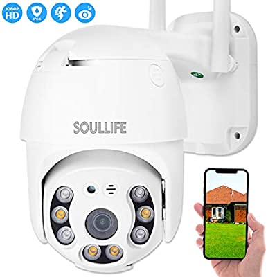 SOULLIFE PTZ Outdoor Security Camera, 1080P Pan Tilt Zoom WiFi Camera, Waterproof Surveillance CCTV with Two-Way Audio Night Vision, Motion Detection Alarm, Support Max 128GB SD, White