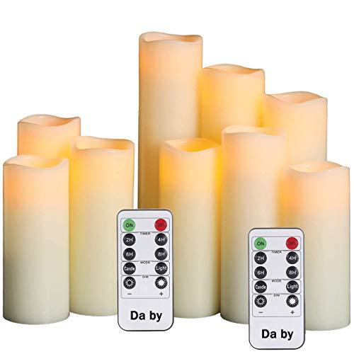 Da by LED vela, vela de la batería, juego de 9 (1 - H 22cm, 1 - H20cm, 1 - H18cm, 2 - H16cm, 2 - H14cm, 2 - H13cm) Vela de columna de cera verdadera marfil con control remoto temporizador.