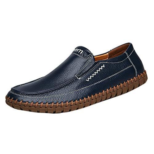 Goddessvan 2019 Men's Plus Size Soft Business Leather Shoes Driving Non-Slip Casual Peas Shoes Dark Blue