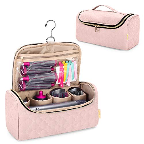 Yarwo Travel Organsier Bag Compatible with Dyson Airwrap Styler Complete, Portable Travel Storage Case for Airwrap Styler and Attachments, Vintage Rose