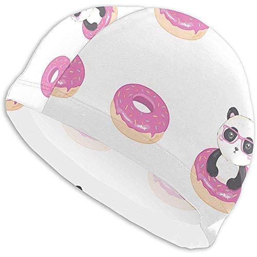 Elxf Cuffia da Nuoto da Donna Panda Donut Cuffia da Nuoto, Cuffia da Nuoto in Poliestere per Ragazza Adolescente per Adulti di personalità