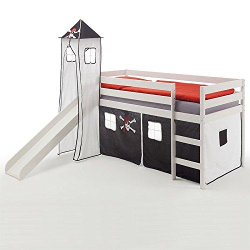IDIMEX Rutschbett Hochbett Spielbett Bett Benny Kiefer massiv Weiss mit Turm+Vorhang Pirat 90 x 200 cm (B x L) mit Rutsche