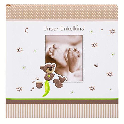 goldbuch Enkelkindalbum, Honigbär, 25 x 25 cm, 60 weiße Blankoseiten mit Pergamin-Trennblättern, Kunstdruck, Weiß/Braun, 24238