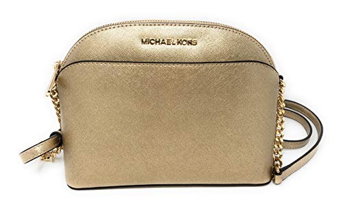 Michael Kors Emmy Medium Saffiano Leather Crossbody Bag in Pale Gold