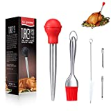 LaGoldoo Turkey Baster 5 Pcs Set, Turkey Basters for Cooking, Father's Day Gifts Syringe, Silicone Oil Brush, 2 x Pump Flavor Injectors and Cleaning Brush. Ideal for Meat & Poultry Roasting. (Red)
