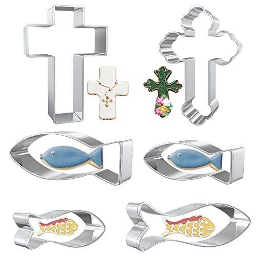 LOVEXIU Christen-Fisch Ausstecher,6 pcs Ausstechform Christenfisch Ausstecher Set,Plätzchenausstecher Kinder,Fisch Keksausstecher zum Backen Einer Tauftorte
