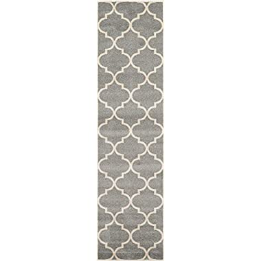 Unique Loom Trellis Collection Moroccan Lattice Gray Home Décor Runner Rug (3' x 10')