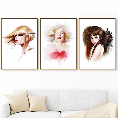 Chica de peluquería nórdica, carteles y estampados, arte de la pared, lienzo, pintura, lienzo de pared, imagen para sala de estar, decoración sin marco