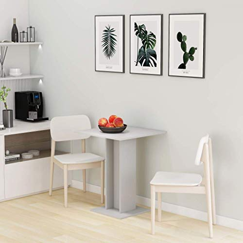 Qazxsw Mesa de Bistro Mesa Auxiliar Mesa Auxiliar Mesa de Comedor pequeña, para salón, Dormitorio o jardín, Gris 60x60x75 cm aglomerado