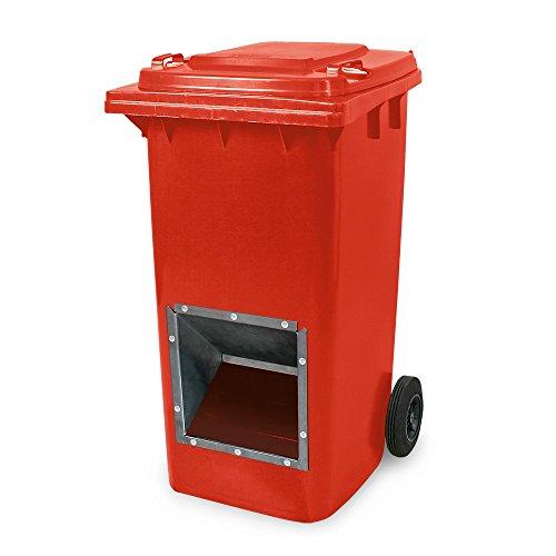 Mobiler Streugutbehälter, Streusalzbehälter 240 Liter, mit Entnahmeöffnung, auch für Streusplit, rot