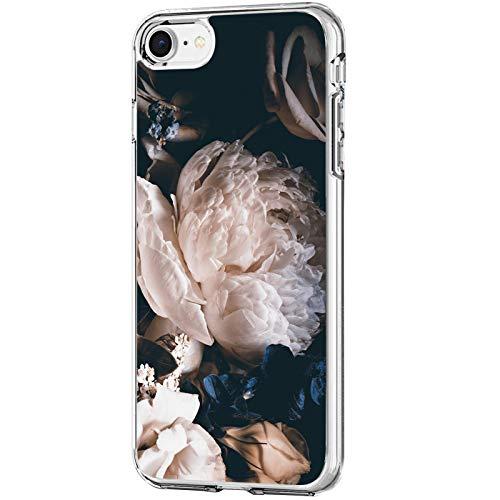 Carcasa iPhone SE 2020 Funda Transparente Suave Silicona TPU Estuche Flor Hoja Paisaje Patrón Case Ultra Delgado Anti Choque Proteccion Caja para Apple iPhone SE 2020 4.7' (2)