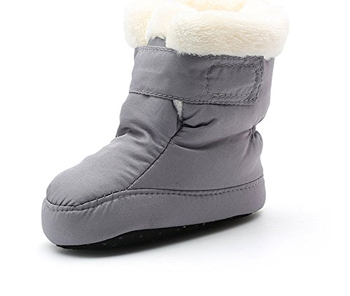 Kuner Newborn Baby Boys and Girls Waterproof Winter Warm Snow Boots (13cm(6-12months), Gray)