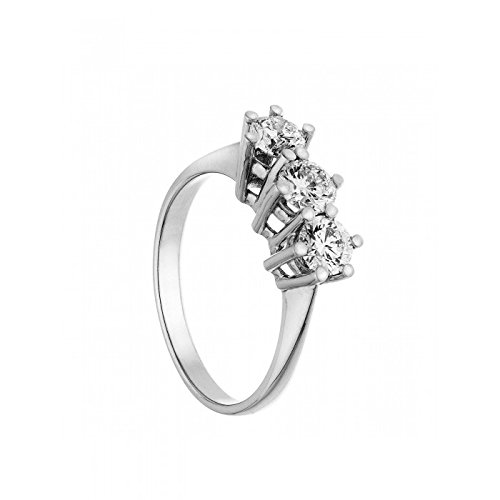 anello trilogy in oro bianco 18 kt diamanti 0,23 taglio brillante colore g taglio eccellent misura 16