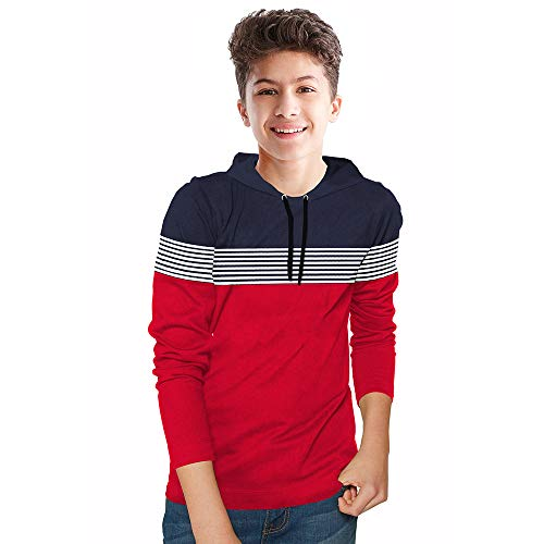 BLIVE Boy's Striped Cotton Blend Hooded Full Sleeves T Shirt | Hoodies | Navy, Red (Red, 15-16 Years)