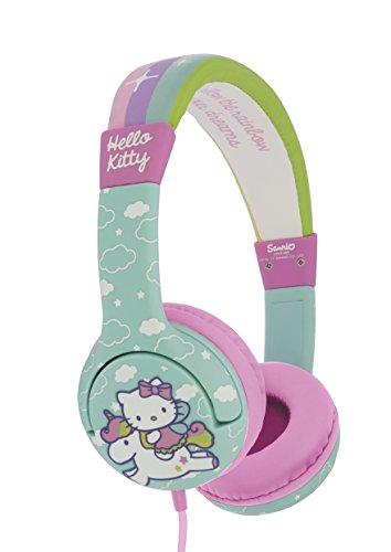 OTL Technologies JUNIOR Kinder Kopfhörer Hello Kitty Unicorn (gepolsterte Bügel, Lautstärke Begrenzung auf 85 dB, buntes Comic Design, für Jungen und Mädchen) Türkis/Pink