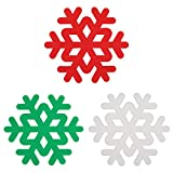 Silicone Trivet Mat, IPHOX Set of 3 Multi-Use Colorful Snowflake Carved Trivets for Kitchen Mats, Table Mats, Bowl Mats, Dish Mats, Insulated Flexible Durable Non Slip Hot Pads (Red-Green-White)