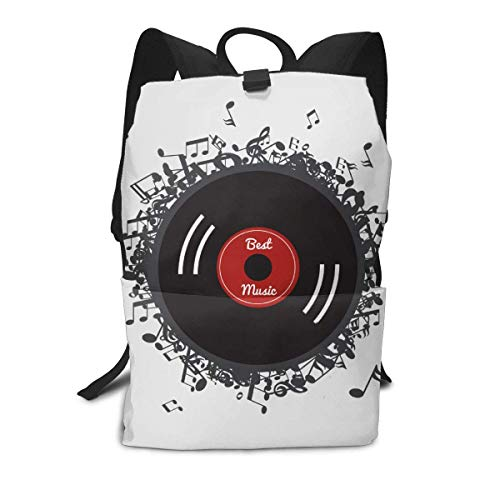 Homebe Durable School Backpack for Teen Girls Boys,Vinyl Records College Student Computer Laptop Book Bag,Travel Hiking Print Daypack for Women Men