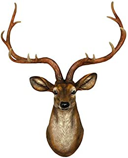 YJ Home Deer Head Wall Decor - Faux Stag Mounted Animal Head Wall Decor Fake Deer Head Sculpture (Large, Brown)