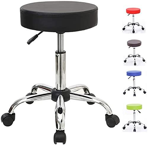 HZYDD Taburete de bar ajustable hidráulico con ruedas para masajes, salón, oficina, spa, tatuaje, silla facial, ruedas, gris (color: negro) (color: negro) (color: negro)