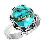 Jeweloporium Cobre Azul Turquesa Anillo 925 Esterlina Plata Hecho a Mano Joyería tamaño 27,5