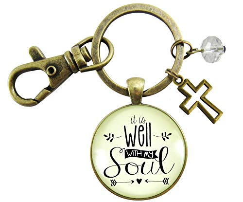 Gutsy Goodness Peaceful Life Keychain It Is Well With My Soul Womens Faith
