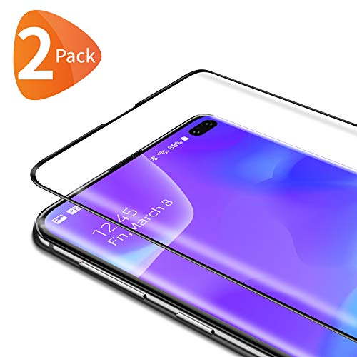 Bewahly Panzerglas Schutzfolie für Samsung Galaxy S10 Plus [2 Stück], 3D Curved Full Cover Panzerglasfolie Ultra Dünn HD Bildschirmschutzfolie 9H Festigkeit Folie für Samsung Galaxy S10 Plus - Schwarz