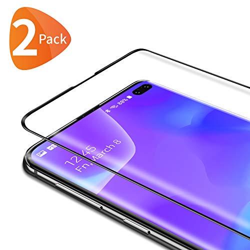 Bewahly Cristal Templado para Samsung Galaxy S10 Plus [2 Piezas], 3D Curvado Completa Cobertura Protector Pantalla, 9H Dureza Alta Definicion Vidrio Templado Sin Burbujas para Samsung S10 Plus (Negro)