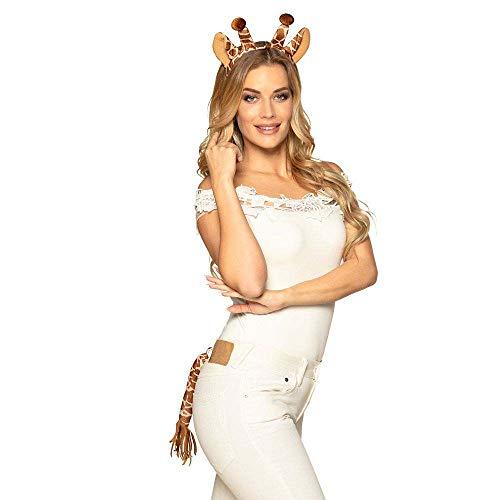 Boland 52321 - Kostümset Giraffe, Haarreif mit Ohren und Schwanz, Tier, Tiara, Zoo, Dschungel, Kostüm, Karneval, Mottoparty, Accessoire