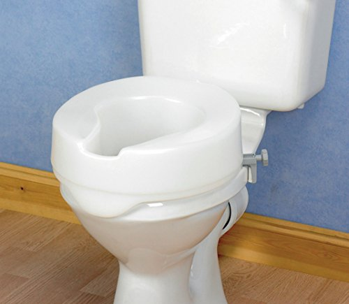 Homecraft Ashby Easy Fit Raised Toilet Seat, Elevated Toilet Seat Locks Onto Round Toilets, Portable Assistance Seat for Disabled & Elderly, 15cm/6 inch High, White(Eligible for VAT relief in the UK)