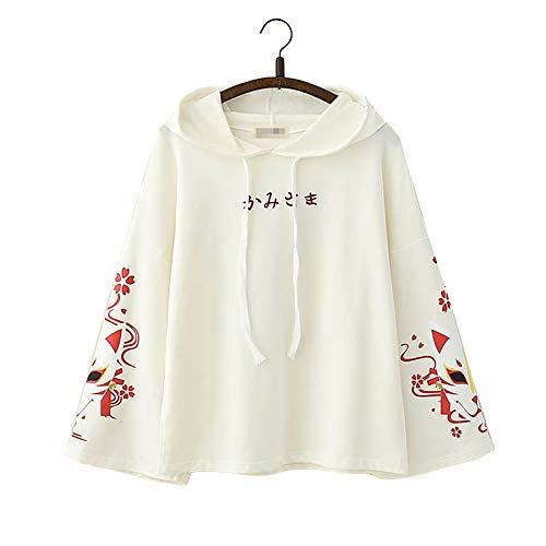 """Vdual Hoodie, einfacher japanischer Text, modisch, trendy, ästhetisch, minimalistisch, elegant, """"Sakura Fox""""-Design, lange Ärmel Gr. One size, weiß"""