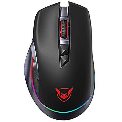 Wireless Gaming Mouse【RGB & 8 Programmable Buttons】PICTEK Rechargeable Gaming Mouse with Longer Battery Life, Lightweight Dual Mode Mouse for PC, Mac, Laptop