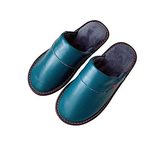 XVXFZEG Hogar de algodón de pelo, piel de ante de la guarnición, espesado antideslizante PRT Sole, apto for uso interior y al aire libre, zapatos de cuero de vaca azul de algodón, impermeable y zapato