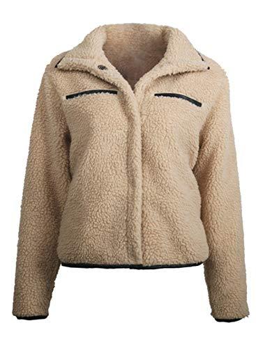 CORAFRITZ Damen Kurzmantel Kunstfell Fuzzy Sherpa Mantel Knopf Cardigan Offene Vorderseite Zottelmantel Crop Jacke Outwear Gr. M, khaki
