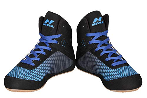 Nivia 510BB10 Mesh Wrestling Shoes, Youth 10 UK (Blue/Black)