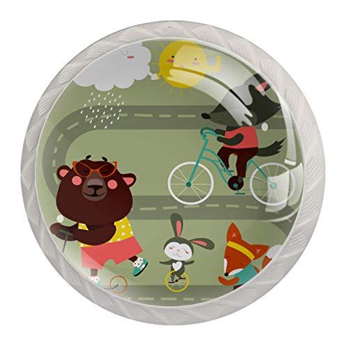 (4 piezas) pomos de cajón para cajones con tiradores de cristal para gabinete, hogar, oficina, armario, divertido conejo con bicicleta, 35 mm