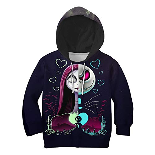 PLstar Cosmos The Nightmare Before Christmas 3D Printed Hoodie with Pocket Kids Hoodies Boy for Girl Sweatshirts(KID-H-H-07, L)