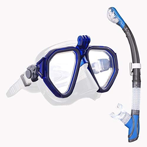 ROVLAK Set da Snorkeling Maschera Snorkeling con Boccaglio Snorkeling Maschera Subacquea Anti Perdite Anti Fog Set Snorkeling per Uomini, Donne, Azzurro