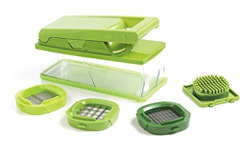 MASTRAD - Coupe Légumes Avec Réservoir - 3 Grilles - Peigne de Nettoyage - 28 x 10,5 x 15, 3 cm - Vert