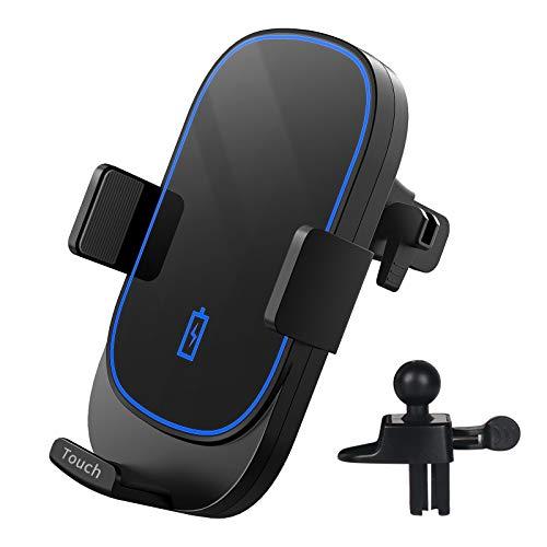 DEKNEI Cargador Inalámbrico Coche, Qi 15W Bloqueo automático Wireless Car Charger Soporte para teléfono con Clip de ventilación de Aire Compatible con iPhone 12/11/XS MAX/XR/8/7,Galaxy S20/S10/S9