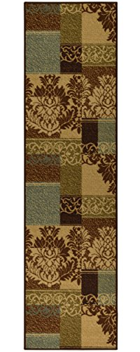 "Ottomanson Ottohome Collection Contemporary Damask Design Non-Skid Rubber Backing Hallway Runner Rug, 2'7"" X 9'10'', Brown"