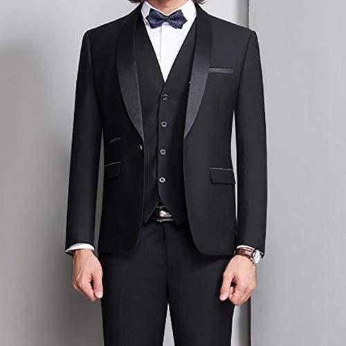 結婚式のプロムの男性スーツ3ピース喫煙フォーマルスリムフィットケメント男性服セットベストジャケットパンツ メンズスーツスリムフィット (Color : Gray, Size : XXL)