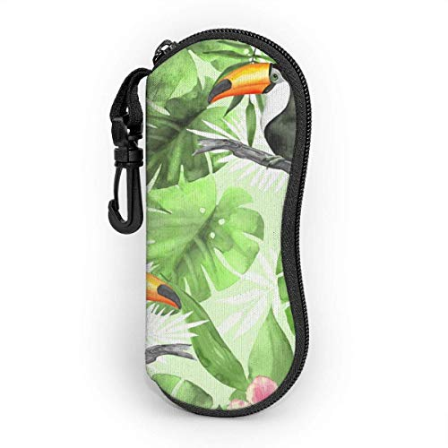 OKIJH Glasses Case with Carabiner,Tropical Pattern With Toucans Ultra Light Portable Neoprene Zipper Sunglasses Soft Case